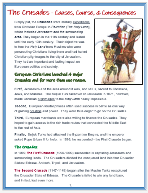THE CRUSADES: Causes, Course, Consequences + DBQ Assessments