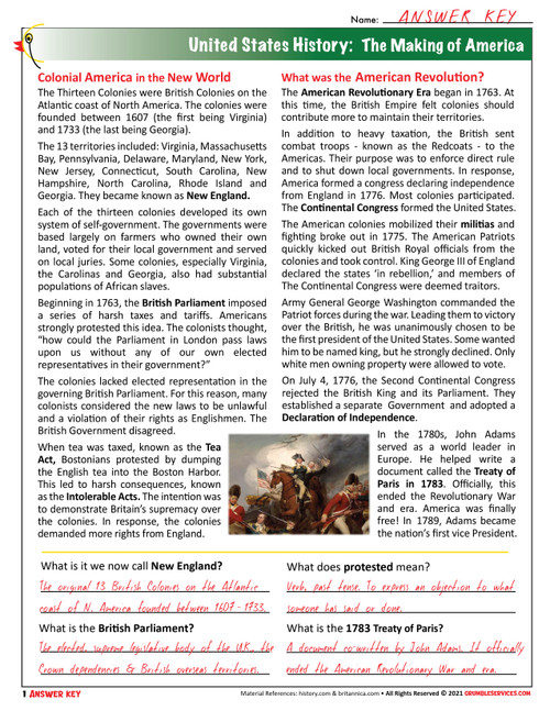 American Revolutionary War: Britain vs. America - ROOKIE Elementary Montessori History & Geography help (4 pages + key)