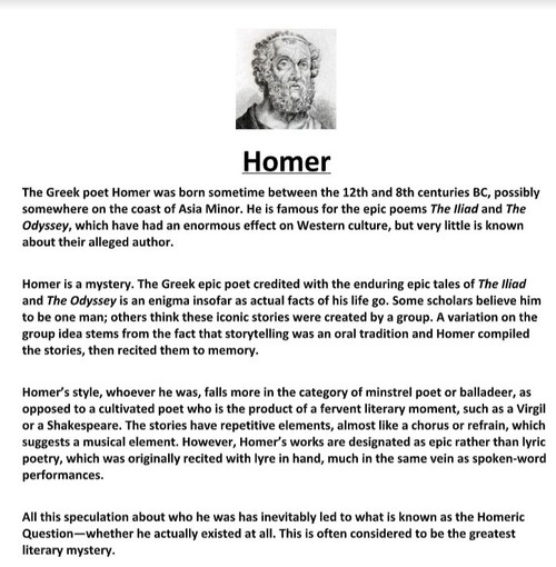 Homer Biography and Assignment