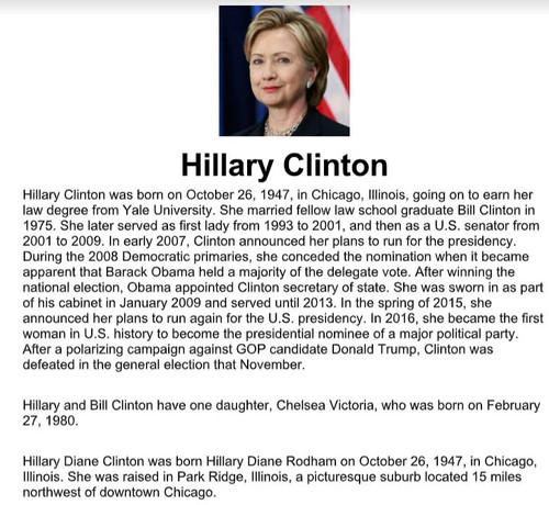 Hillary Clinton Biography and Assignment