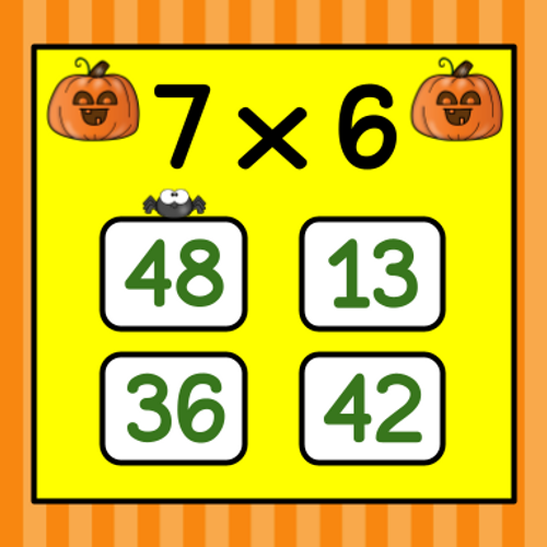 Halloween Multiplication Flashcard Game