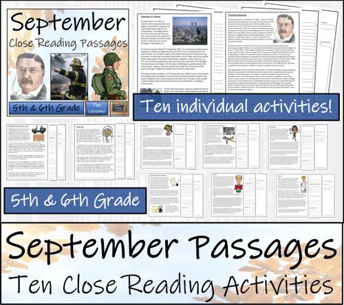September Close Reading Comprehension Passages | 5th Grade & 6th Grade