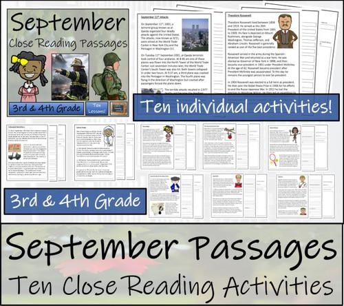 September Close Reading Comprehension Passages | 3rd Grade & 4th Grade