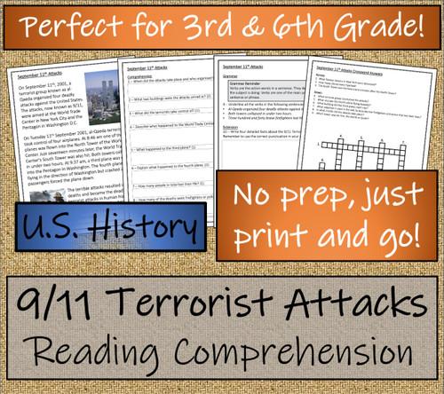 9/11 Terrorist Attacks Close Reading Activity | 3rd Grade & 4th Grade
