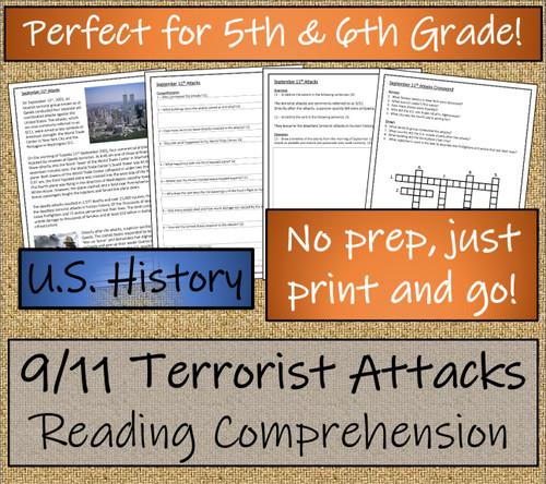 9/11 Terrorist Attacks Close Reading Activity | 5th Grade & 6th Grade