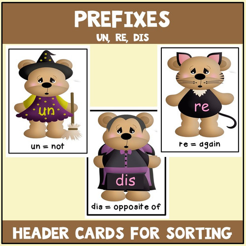 Prefixes Literacy Center with  Worksheets Halloween Theme