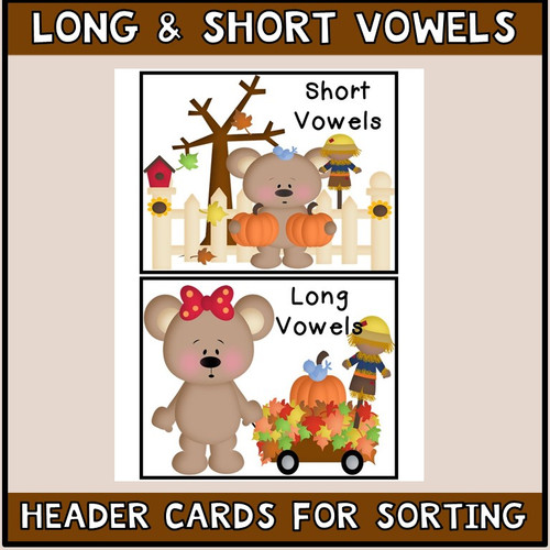 Long and Short Vowels  Literacy Centers Autumn Theme