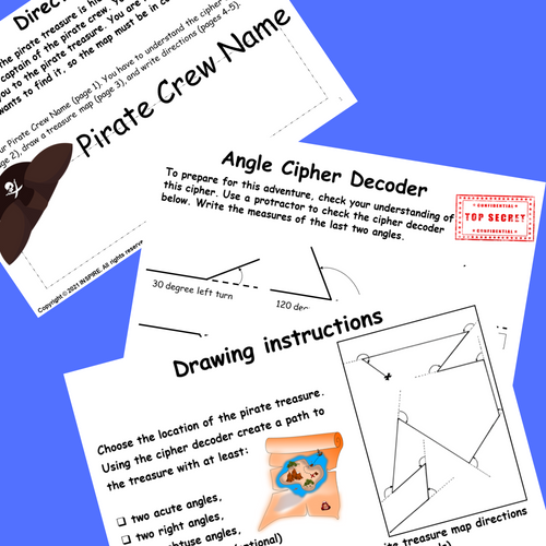 Angles Project   Pirate Treasure Map Types Drawing & Measuring Angles Protractor