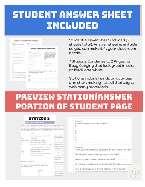 Order of Draw Introduction Stations for Phlebotomy