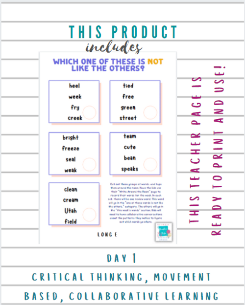 3rd Grade Weekly Spelling Routine-Long e