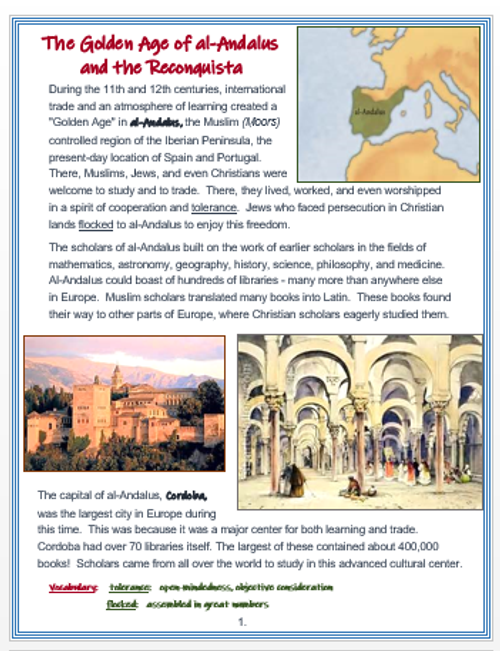 """Medieval Spain """"Al - Andalus and the Reconquista"""" + Assessments"""