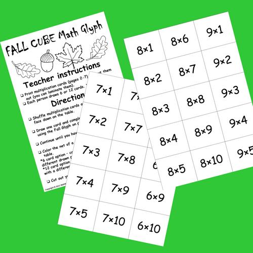 Fall Math Glyph STEAM activity Multiplication Facts Build 3D Cube hands-on Math