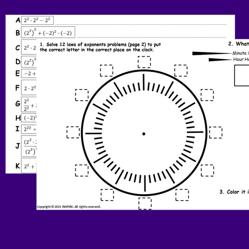 Exponent Rules - Laws of Exponents Activity (No Negative) Math Clock Challenge