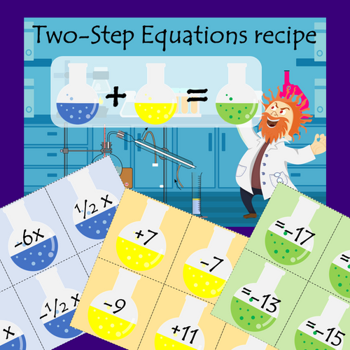 Solving One Step & Two Step Equations Activity | Science Lab Algebra Math Game