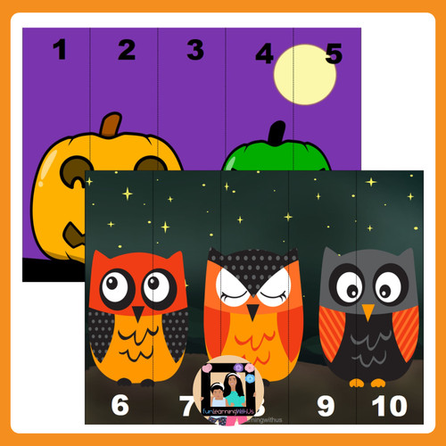Number Sequencing Puzzle Number Sense Activity(1-20) Halloween Theme Puzzle