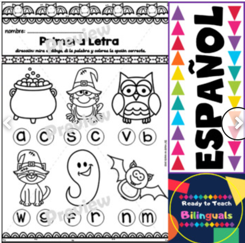 Ready to Print in Spanish - Free Halloween Edition/ Literacy