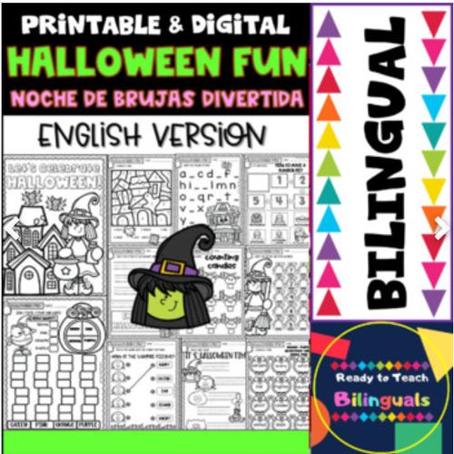 Halloween Fun - Noche de Brujas Divertida - Printables - Set 1- Bilingual
