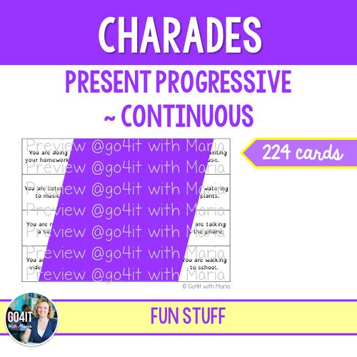 Charades Game | Present Progressive Continuous | PRINT & GO PDF