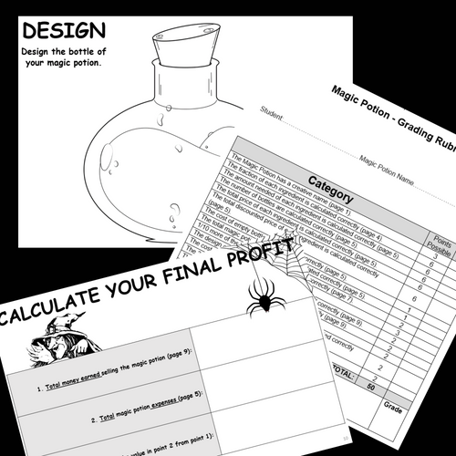 FRACTIONS Project Based Learning Make Magic Potion Halloween Math PBL Enrichment