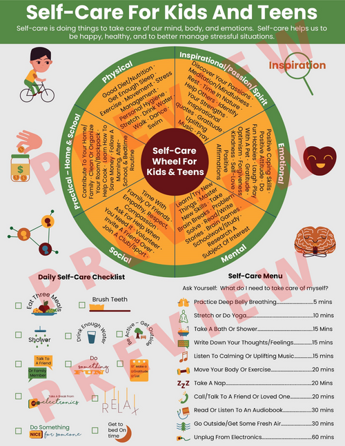Self-Care For Kids & Teens - Self Care Wheel Mental Health-School Counseling SEL
