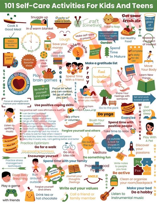 Self-Care Coping Skills-Kids & Teens-101 SELF-CARE ACTIVITIES Poster-Self Esteem
