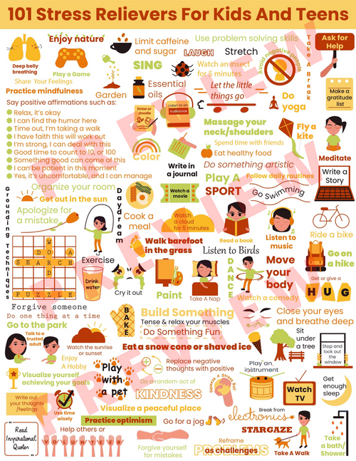 101 STRESS RELIEVERS For Kids & Teens-Stress Management Coping Skills Poster SEL