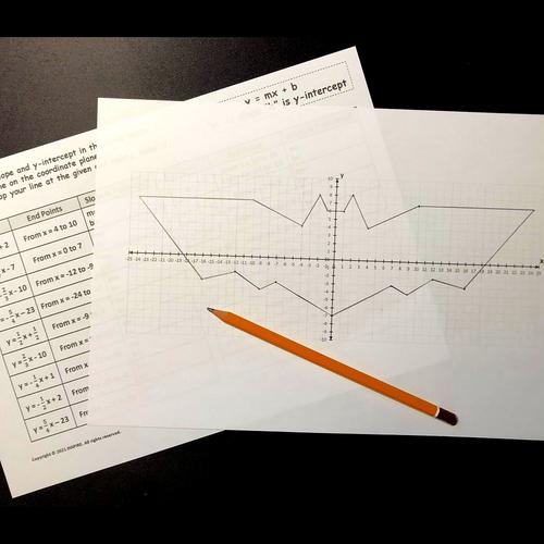 Graphing Linear Equations Bat Halloween Math & Art Activity Slope & Y Intercept