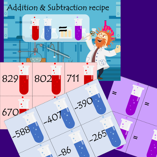 Multiplication Facts, 2 & 3 digit Addition & Subtraction Science Lab Math Game