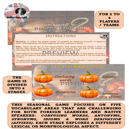Autumn Harvest PPT Vocabulary Game | FALL PUMPKIN-THEMED
