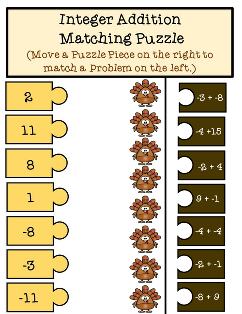 Thanksgiving Integer Addition and Subtraction Puzzle Pieces
