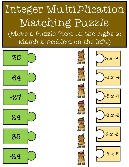 Thanksgiving Integer Multiplication and Division Puzzle Pieces