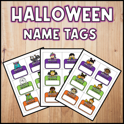 Halloween Name Tags FREEBIE | French Version Included!