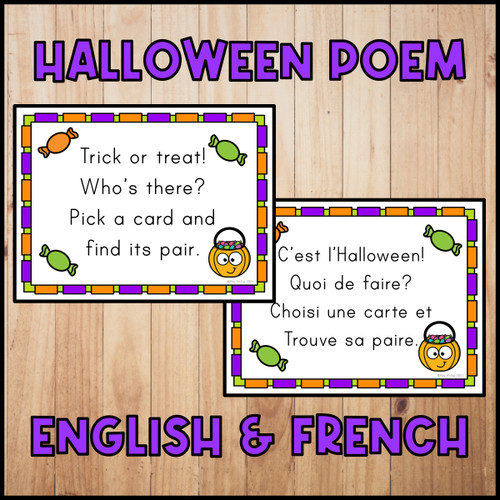Halloween Poem and Pocket Chart Activities | French Version Included!