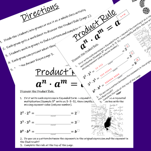 FREE Discovering Exponent Rules Laws of Exponents Inquiry Project - Product Rule