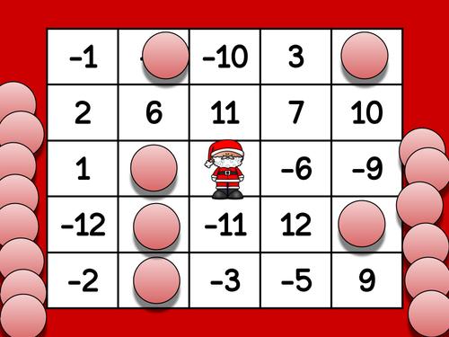 Christmas Integer Bingo - Addition and Subtraction