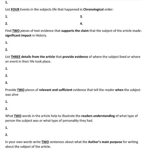 Jesse Owens Biography Article and Assignment Worksheet