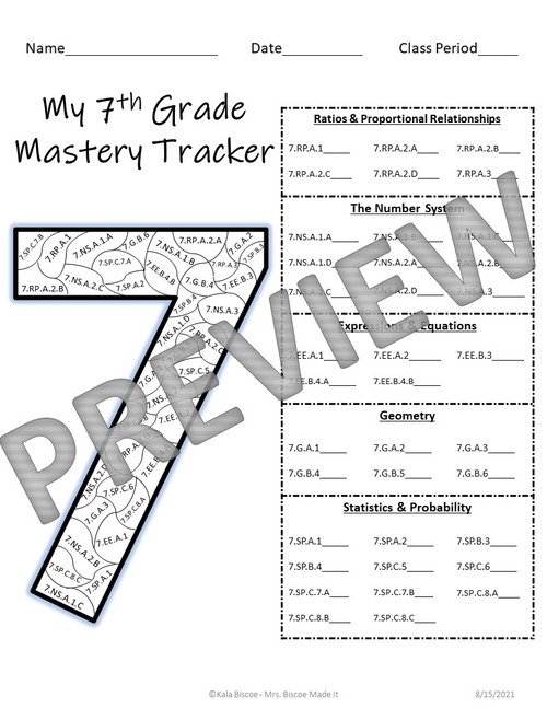 7th Grade Math Data Tracker (CCSS)