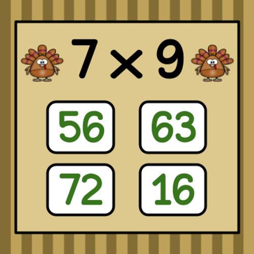 Thanksgiving Multiplication Flashcard Game