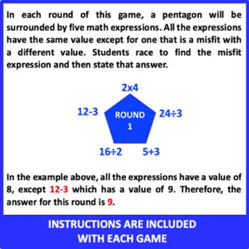 Mental Math Games: Grade 3 and 4 (Set 4)