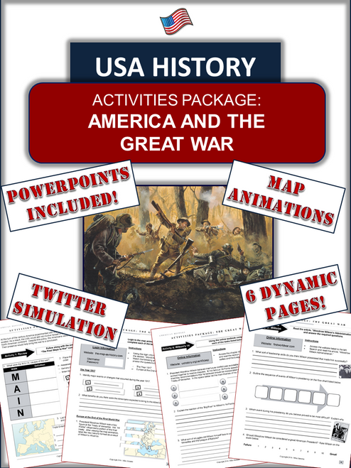 """America and World War 1 Bundle - """"America and the Great War"""" - 47 Pages/Slides"""