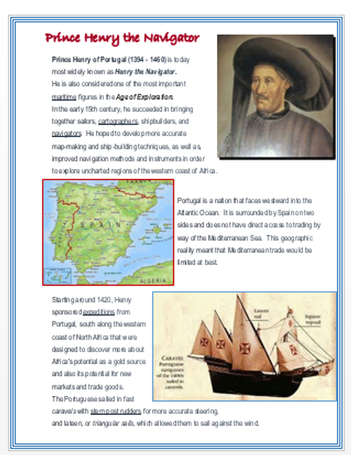 Prince Henry the Navigator + Assessment
