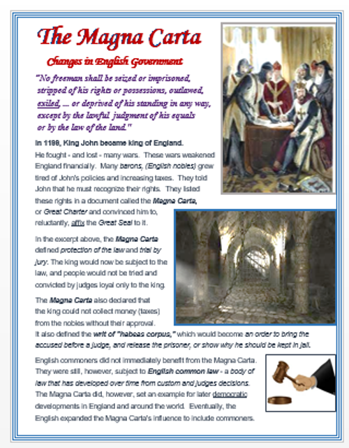 Magna Carta - Changes in English Government + Assessments