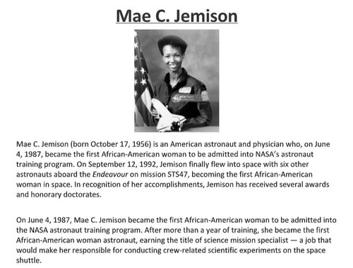 May C. Jemison Biography and Assignment