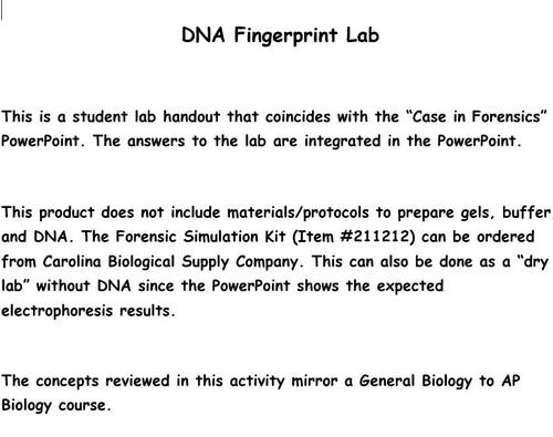 A Case in Forensics: DNA Fingerprint Lab