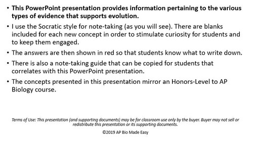 Evidence for Evolution: PowerPoint with Student Handout