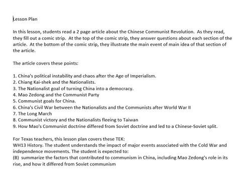 Chinese Communist Revolution Comic Strip Activity