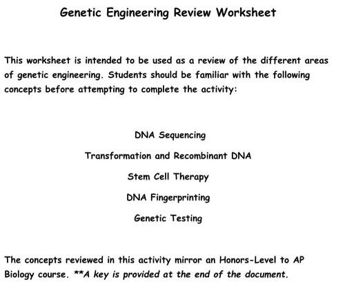 Genetic Engineering Review Worksheet