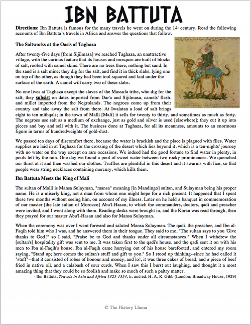 Ibn Battuta Primary Source Reading