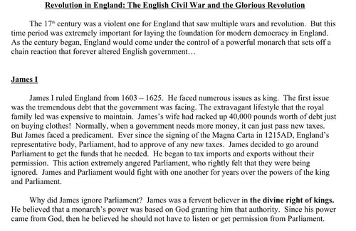 English Civil War and Glorious Revolution Article