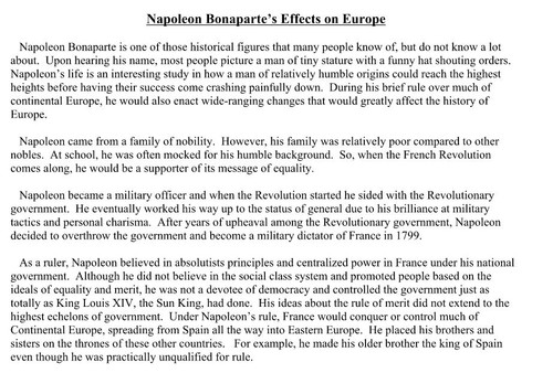 Effects of Napoleon Article